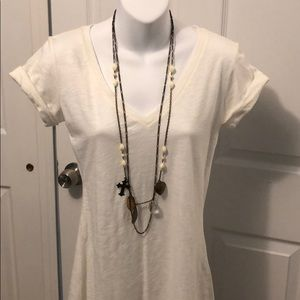 NWOT H&M Ivory and Copper Layered Necklace